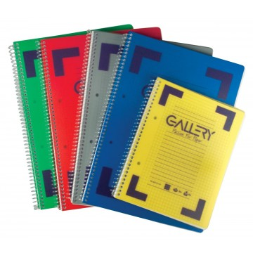 Gallery Traditional spiraalschrift A5, geruit 5mm, geassorteerde kleuren, 160 bladzijden