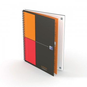 Oxford INTERNATIONAL notebook connect, stevige kartonnen kaft grijs, 160 bladzijden, B5,  geruit 5mm