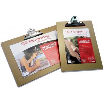 Pergamy klemplaat, voor A4, uit hardboard karton, bruin