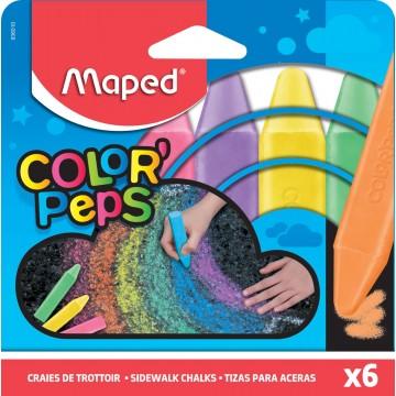 Maped stoepkrijt Color Peps, etui van 6 stuks