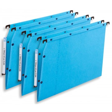 L oblique hangmappen voor kasten AZV V-bodem, blauw