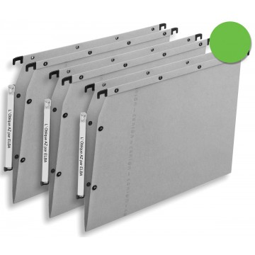 L oblique hangmappen voor kasten AZV V-bodem, groen