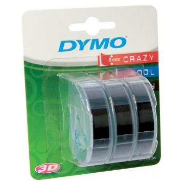 Dymo D3 tape 9mm, wit op zwart, blister a 3 stuks